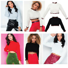 Womens Ladies Cropped Knitted High Neck Ruffle Frill Hem Jumper Long Sleeve Top