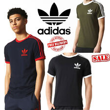 Adidas California Mens Originals Trefoil T-Shirts 3 Stripe Crew Neck Sports Tees