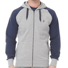 Brand New Original Penguin Mens Raglan Hoody Rain Heather/Dress Blue