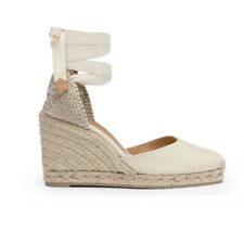 Castaner Women's Carina White Wedge Sandals Espadrilles Canvas NEW All size