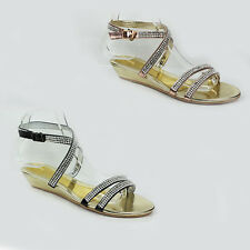 NEW WOMENS LADIES WEDGE HEEL STRAPPY DIAMANTE ANKLE STRAP SANDALS SHOES SIZE 3-8