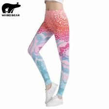 Women Printed Leggings Fitness Stretch Pants High Waist Casual Slimming Legging