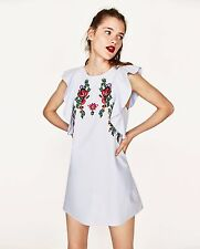 ZARA SS17 Floral Embroidered Sky Blue Dress With Frill Ruffle Sleeves XL 12 14