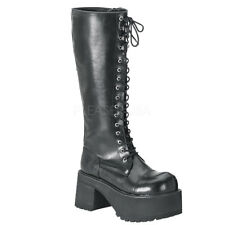 RANGER-302 BLACK DEMONIA VEGAN LEATHER GOTHIC/PUNK KNEE HIGH BOOTS BY PLEASER