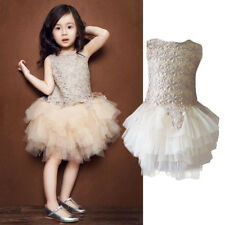Cute Flower Baby Girls Kids Pageant Wedding Party Flower Tulle Tutu Dresses 1-6Y