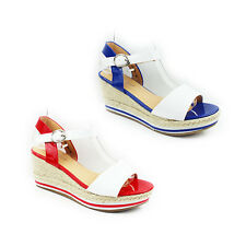 WOMENS LADIES STRAPPY PLATFORM WEDGE HEEL ANKLE STRAP ESPADRILLES SHOES SIZE 3-7