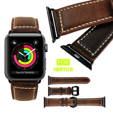 Brown Genuine Leather Smart Watch Strap Band For iWatch Apple Watch 38mm/42mm UK