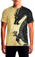 Black Chinese Dragon Front and Back All over Printed yellow polyester T-shirt