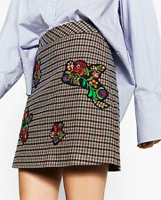 Zara Woman Floral Embroidered Applique Studded Checked Mini Skirt XS S M L BNWT
