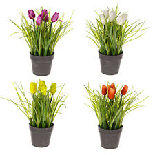 Artificial Tulips and Grass in Pot