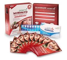 NEW COCONUT OIL TEETH WHITENING STRIPS 28 STRIPS 14 POUCHES 2 WEEKS SUPPLY UK