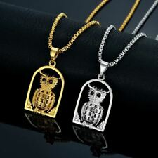 Animal Jewelry Owl Necklace Pendant For Womens Silver/Gold Box Chain Punk Style