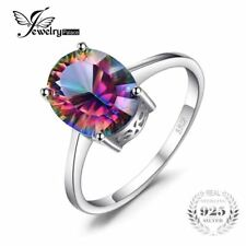 5ct Natural Gem Rainbow Fire Mystic Topaz Ring Concave Oval 925 Sterling Silver