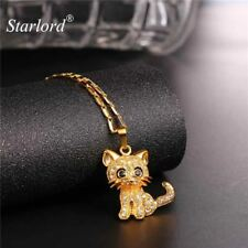Rhinestone Cat Necklace Trendy Gold Link Chain For Women Pet Pendant