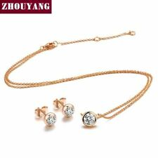 Crystal Rose Gold Fashion Jewelry Sets For Women Girl Jewelry Accessories