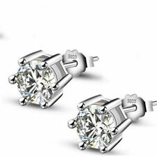 0.75ct CZ Round Clear Zircon Crystal Jewelry 925 Unique Silver Jewelry Stud Earr