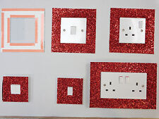 RED GLITTER FABRIC SWITCH SOCKET COVERS WITH DOUBLE SIDE TAPE SWITCHES COVER