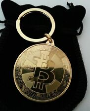 NEW Gold Plated BITCOIN KEYRING KEYCHAIN Coin Gift +Pouch RAPID DELIVERY from UK