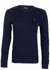New Ralph Lauren Men's Crew Neck Cable Knit Lambs Wool Jumper Pullover Sweater