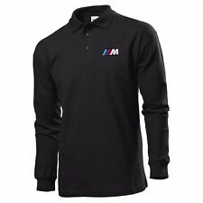 CAMISETA DEL POLO MANGA LARGA BLACK MANGA LARGA BORDADO PARCHE BMW MPOWER LOGO