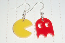 80s Retro Geek Game Pacman and Ghost Charm Earrings Kawaii Kitsch Arcade