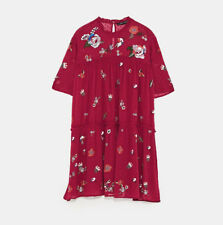 NEW ZARA AW17 EMBROIDERED DOTTED MESH BURGUNDY DRESS REF 6895/248 SIZE XS