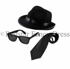 Blues Brothers Cappello Occhiali da Sole Neri Cravatta Costume Addio Al Celibato