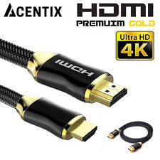 NEW Braided Ultra HD HDMI Cable V2.0 High Speed + Ethernet HDTV 2160p 4K 3D UK
