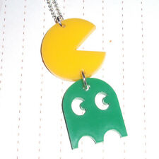 80s Retro Arcade Game Pacman & Ghost Logo Charm Necklace Kitsch Kawaii Acrylic