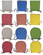 Garden Seat Pad 100% Cotton Gingham Check Kitchen Dining Outdoor Chair Cushion