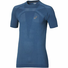 Asics Men's Short Sleeve Breathable Running Performance Top - Poseidon Blue