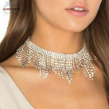 Long Crystal Tassel Multilayer Necklace Elegant Chain Jewelry