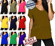 Women Ladies Baggy Oversized V Neck Turn Up Sleeves Loose Batwing T-Shirt Tops