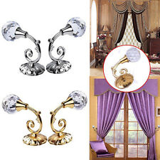 LC_ 2x Large Metal Crystal Glass Curtain Holdback Wall Tie Back Hooks Hanger H