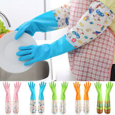 LC_ HK- 1 Pair Thickened Flannel Cleaning Dish Waterproof Long Sleeve Gloves P