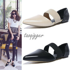 Punk Womens British Genuine Leather Pointed Toe Flats Elastics Fashion Shoes New