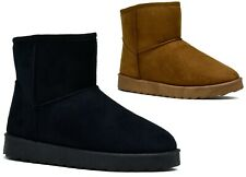 LADIES CASUAL FLAT SOFT WARM CUSHIONED WINTER SUEDE ANKLE BOOTS SIZE UK 3-8