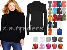 NEW WOMENS LADIES LONG SLEEVES POLO NECK STRETCH TOP TURTLE NECK JUMPER