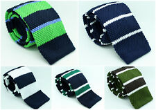Navy Green White Blue Brown Weave Knitted Striped Skinny Fabric Tie Straight End