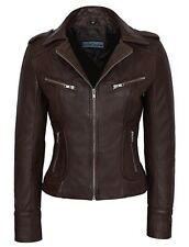 Ladies 9823 Brown Biker Motorcycle Style Real Nappa Leather very sexy Jacket