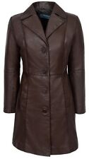 Ladies Brown TRENCH 3457 Classic Knee-Length Awesome Design Leather Jacket Coat