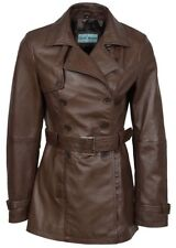 Ladies Trench 1123 Brown Classic Mid-Length Nice fitted Real Leather Jacket Coat