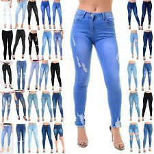 Womens Ladies Ankle Ripped Destroyed Distress Skinny Trousers Pants Denim Jeans