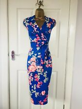 Blue Floral Collared Belted Bodycon Evening Party Midi Wiggle Pencil Dress