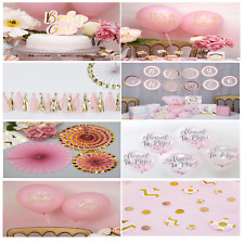 PINK BABY SHOWER DECORATIONS - CAKE TOPPER, BALLOONS, GARLANDS, TABLE DECORATION