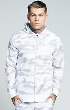 Sik Silk Mens New Full Zip Long Sleeve Hoodie White Silver Reflect Camo