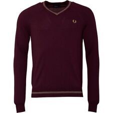 Fred Perry Mens Tipped Merino V-Neck Sweater Mahogany S,M,L  RRP 99.99