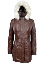Alice Ladies Brown Trench Mid Length Hooded Designer classic Leather Jacket Coat