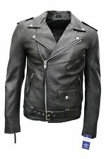 Men's Black BRANDO Classic Real Biker style Cowhide smart fitting Leather Jacket