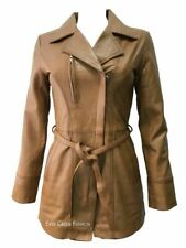 Ladies SARINA Trench Tan Mid-Length Awesome Real Leather classic Jacket Coat